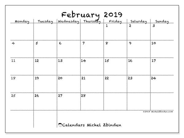 February 2019 Calendars (MS) - Michel Zbinden EN