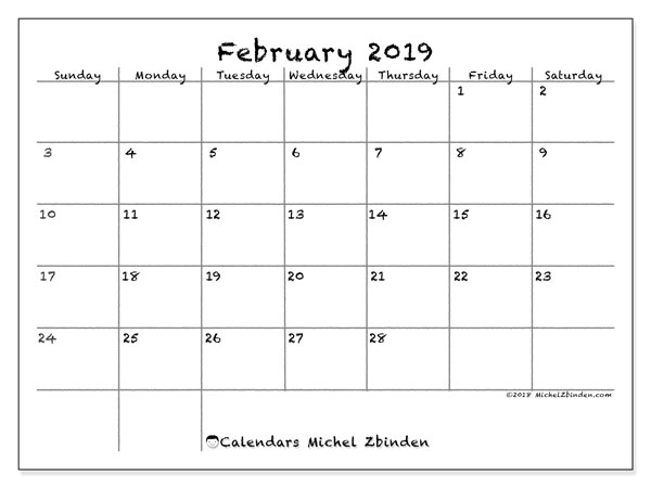 February 2019 Calendar, 77SS. Free bullet journal to print.