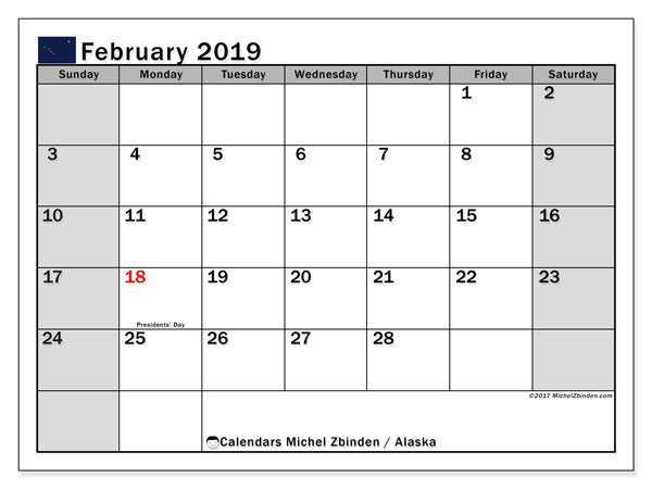 Calendar February 2019, with the holidays of Alaska. Free calendar to print.