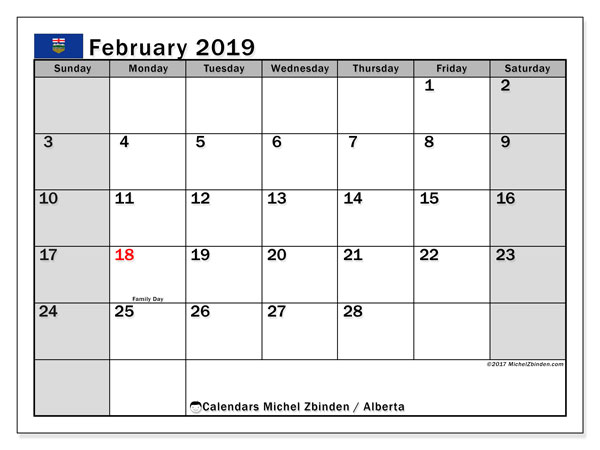 Calendar February 2019, with the holidays of Alberta. Calendar to print free.
