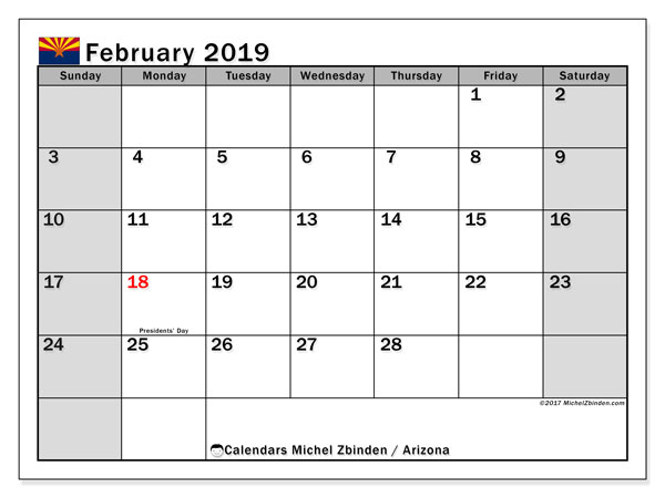 Calendar February 2019, with the holidays of Arizona. Monthly planner to print free.