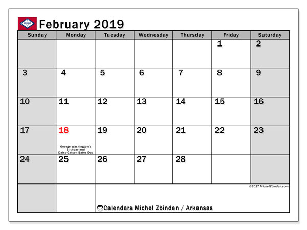 Calendar February 2019, with the holidays of Arkansas. Free printable planner.