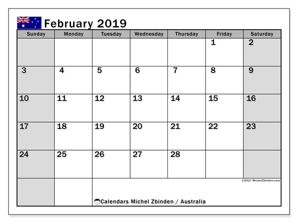 Calendar February 2019, with the holidays of Australia. Free printable monthly planner.