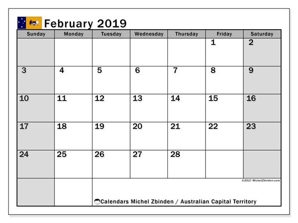 Calendar February 2019, with the holidays of Australian Capital Territory. Planner to print free.