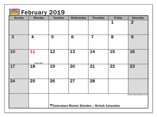 February 2019 Calendar  - British Columbia. Printable calendar: public holidays.