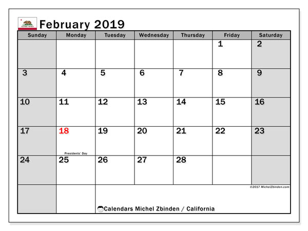 February 2019 Calendar  - California. Printable calendar: official holidays.