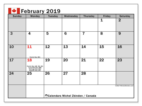 Calendar February 2019, with the holidays of Canada. Free printable planner.