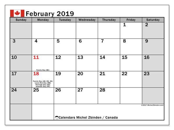 Calendar  February 2019, canada