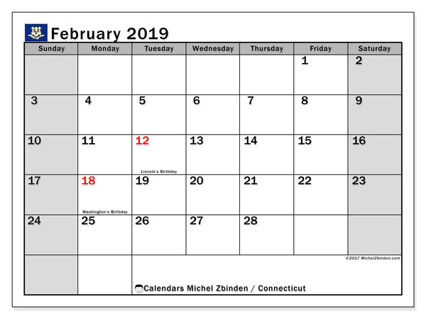 Calendar Connecticut, February 2019