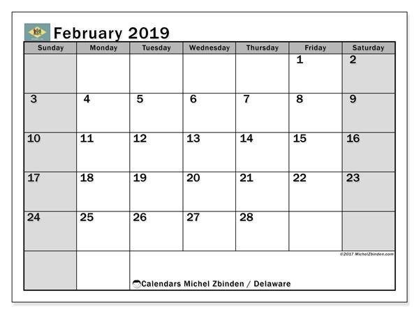 February 2019 Calendar  - Delaware. Printable calendar: official holidays.