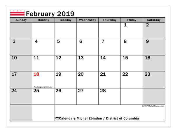 February 2019 Calendar, with the District of Columbia holidays. Holidays calendar to print free.