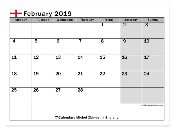 Calendar February 2019, with the holidays of England. Free printable planner.