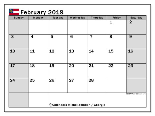 February 2019 Calendar, with the holidays of Georgia. Free printable calendar with public holidays.