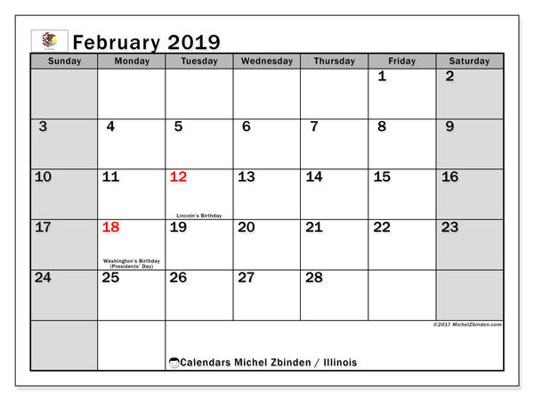 February 2019 Calendar  - Illinois. Printable calendar: official holidays.