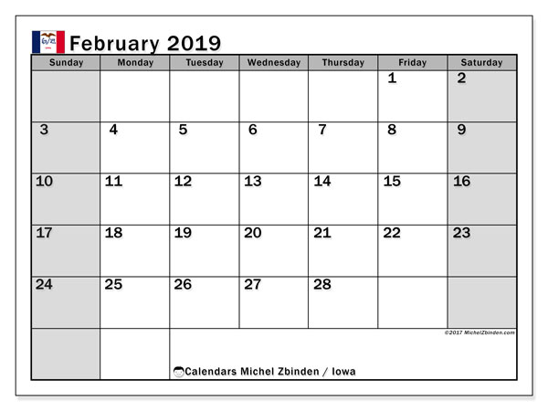 Calendar February 2019, with the holidays of Iowa. Calendar to print free.