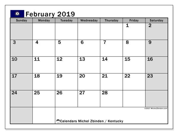 Calendar February 2019, with the holidays of Kentucky. Free calendar to print.