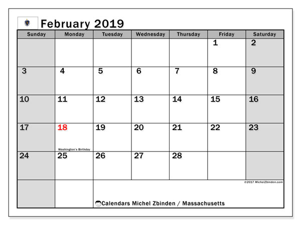 Calendar Massachusetts, February 2019