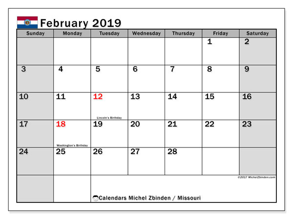 Calendar February 2019, with the holidays of Missouri. Free bullet journal to print.