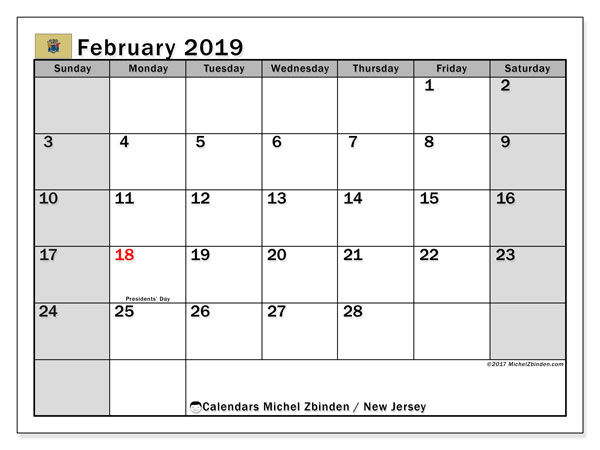 Calendar February 2019, with the holidays of New Jersey. Free printable calendar.
