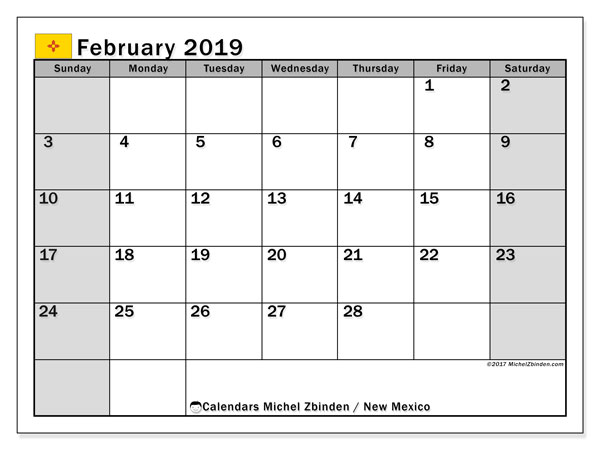 Calendar February 2019, with the holidays of New Mexico. Free printable planner.