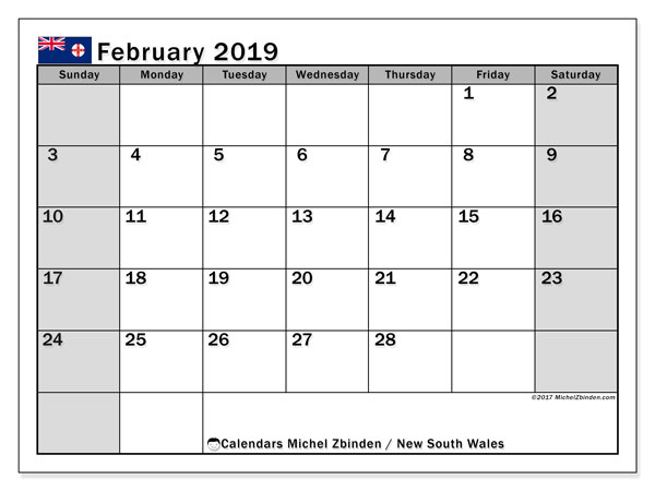 Calendar February 2019, with the holidays of New South Wales. Monthly planner to print free.