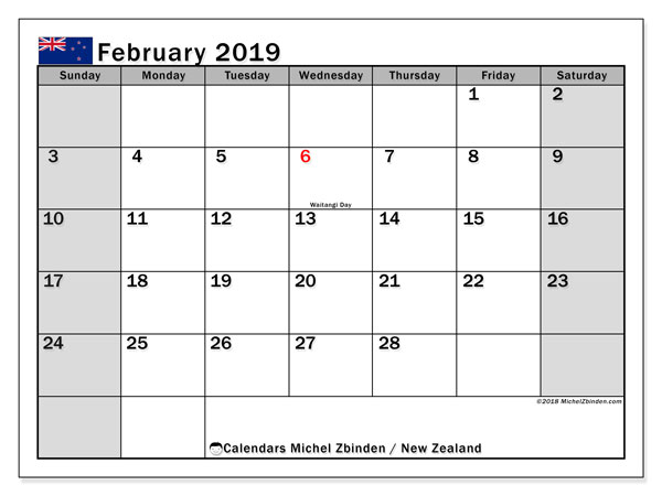Calendar February 2019, with the holidays of New Zealand. Free printable monthly planner.