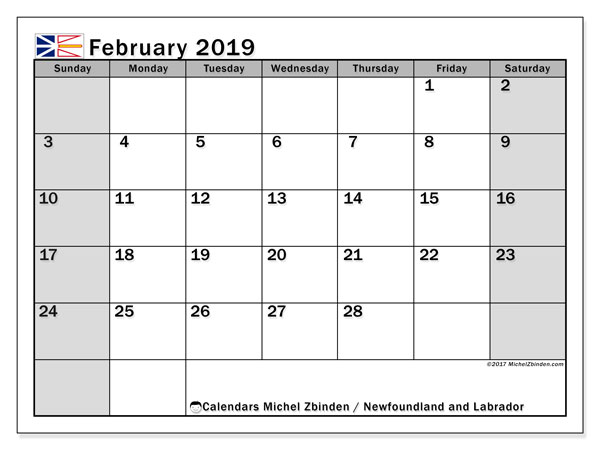 February 2019 Calendar  - Newfoundland and Labrador. Printable calendar: public holidays.