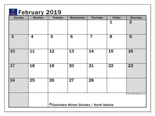 Calendar North Dakota, February 2019