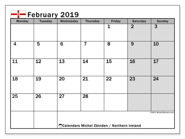 Calendar February 2019, with the holidays in Northern Ireland. Planner to print free.