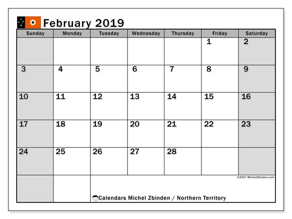 Calendar February 2019, with the holidays of Northern Territory. Monthly calendar to print free.