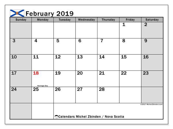 Calendars February 2019, public holidays Canada - Michel ...