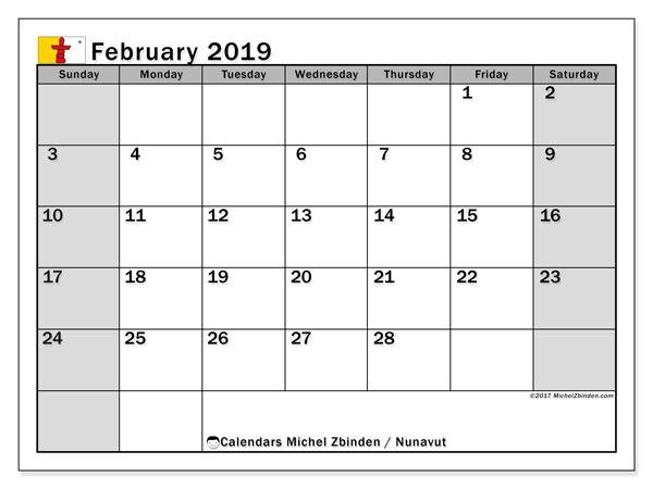 Calendar February 2019, with the holidays of Nunavut. Free calendar to print.