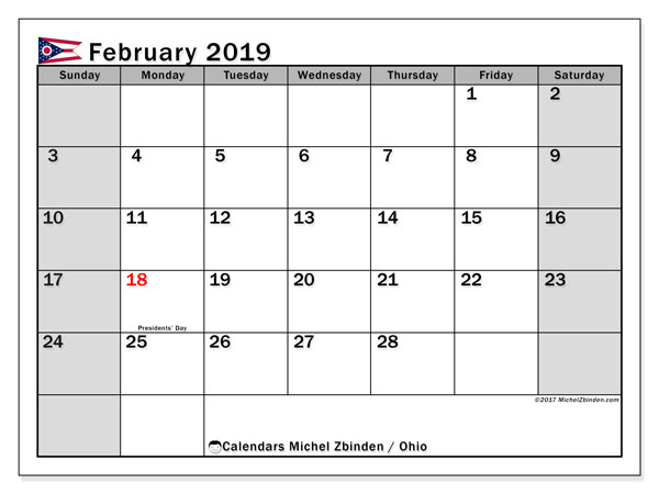 February 2019 Calendar, with the holidays of Ohio. Free printable calendar with public holidays.
