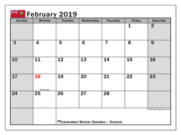Calendar February 2019, with the holidays of Ontario. Free printable monthly calendar.