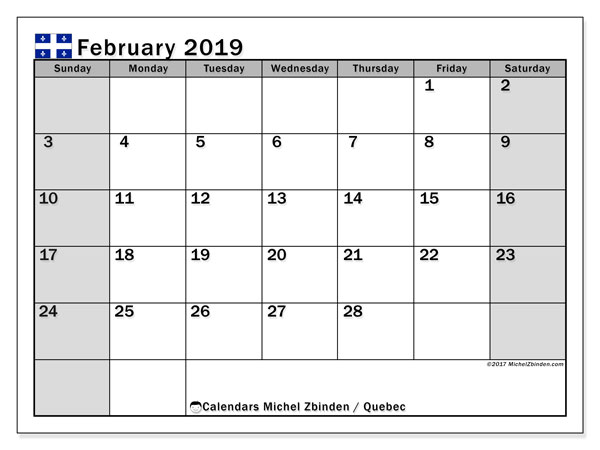 Calendar February 2019, with the holidays of Quebec. Free calendar to print.