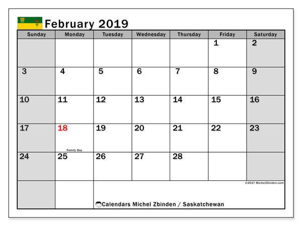 Calendar February 2019, with the holidays of Saskatchewan. Bullet journal to print free.