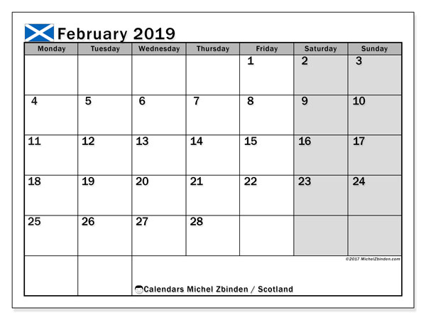 Calendar February 2019, with the holidays of Scotland. Free planner to print.