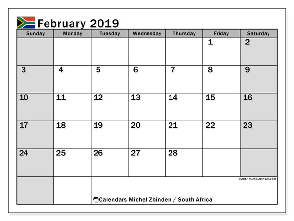 Calendar February 2019, with the holidays of South Africa. Free printable planner.