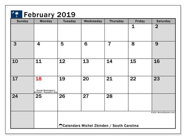 February 2019 Calendar, with the holidays of South Carolina. Free printable calendar with public holidays.