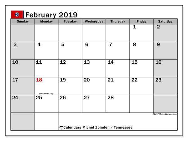 Calendar February 2019, with the holidays of Tennessee. Free printable calendar.