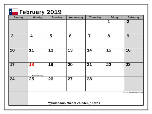 Calendar February 2019, with the holidays of Texas. Free printable monthly planner.