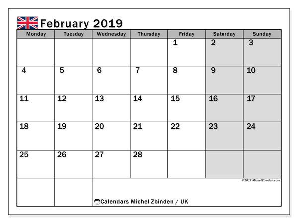 photo about Calendar February Printable titled February 2019 Calendar, United kingdom - Michel Zbinden EN