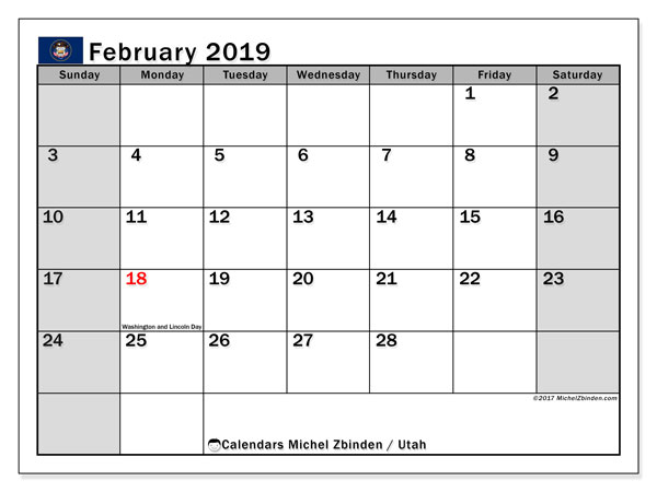 February 2019 Calendar  - Utah. Printable calendar: official holidays.