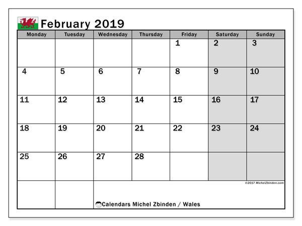 Calendar February 2019, with the holidays of Wales. Free printable planner.