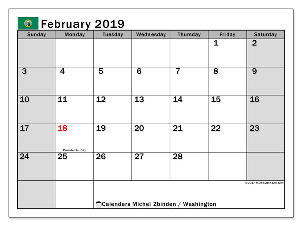 Calendar February 2019, with the holidays of Washington. Calendar to print free.