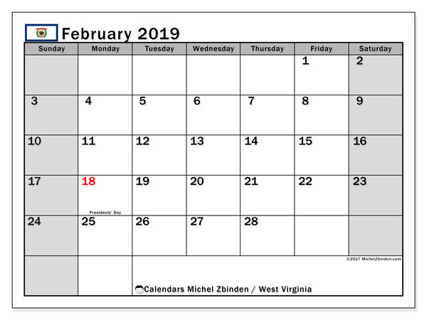 Calendar February 2019, with the holidays of West Virginia. Free printable calendar.