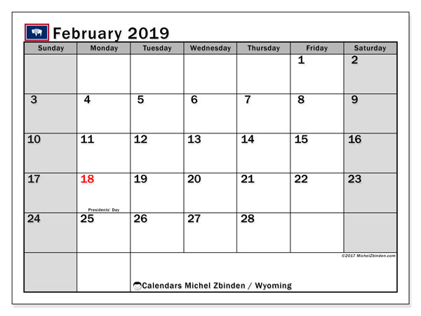 Calendar February 2019, with the holidays of Wyoming. Bullet journal to print free.