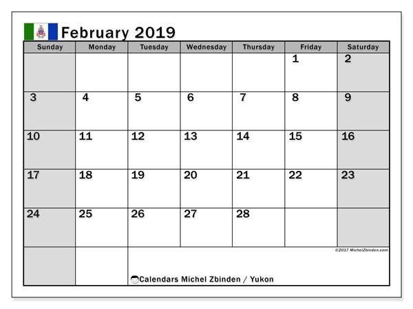 February 2019 Calendar  - Yukon. Printable calendar: official holidays.