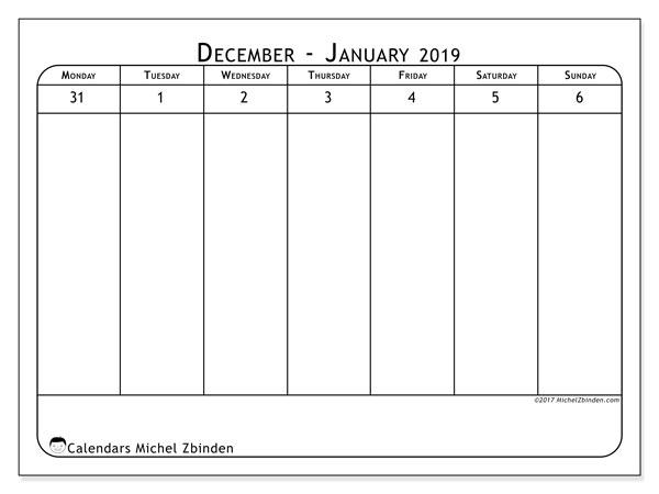 January 2019 Calendar, 43-1MS. Calendar to print free.