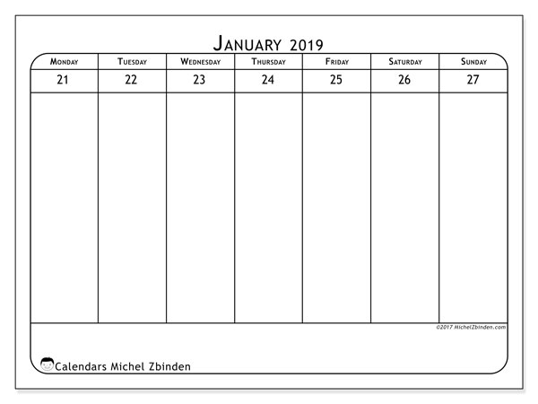 January 2019 Calendar, 43-4MS. Weekly calendar to print free.